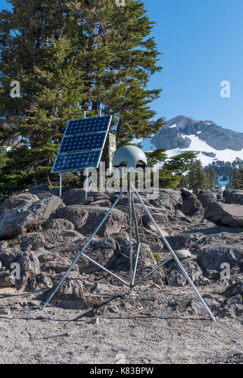 Data Collection Station in Lassen with damage after a long winter - Stock Image