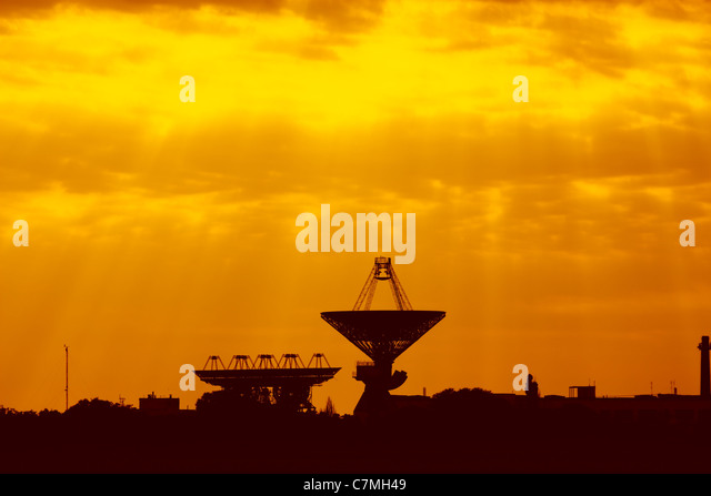 Antennas for space communications at sunset. Ukrainian Space Center - Stock Image