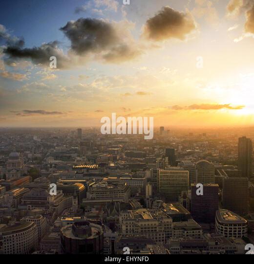 London skyline sunset, England, UK - Stock Image