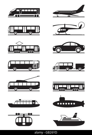 Passenger and public transportation - vector illustration - Stock Image