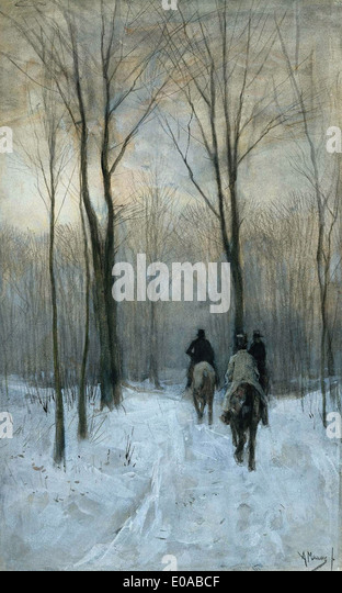 Anton Mauve English Riders in the Snow near the Hague - Stock Image