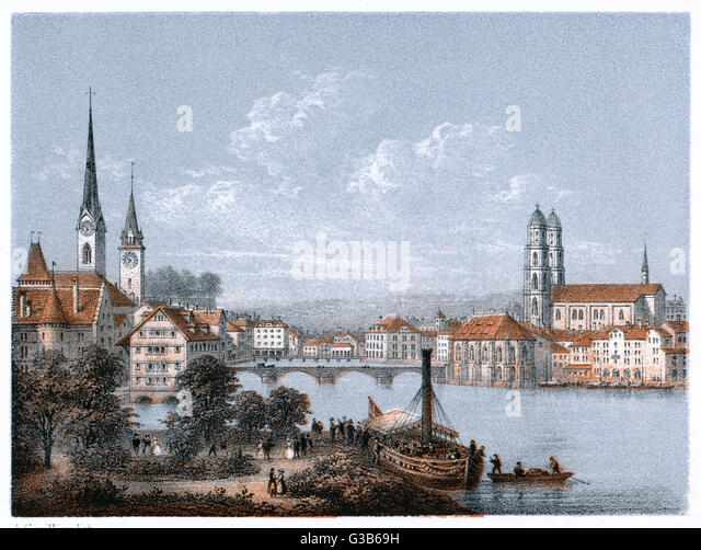 Zurich         Date: 19th century - Stock Image