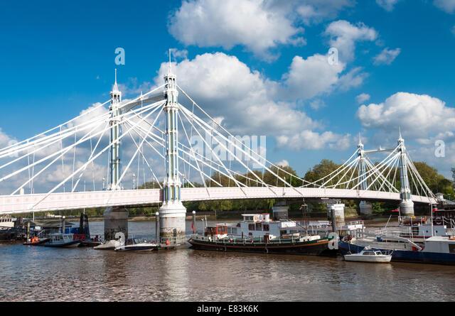 Albert Bridge, London, England, UK - Stock Image
