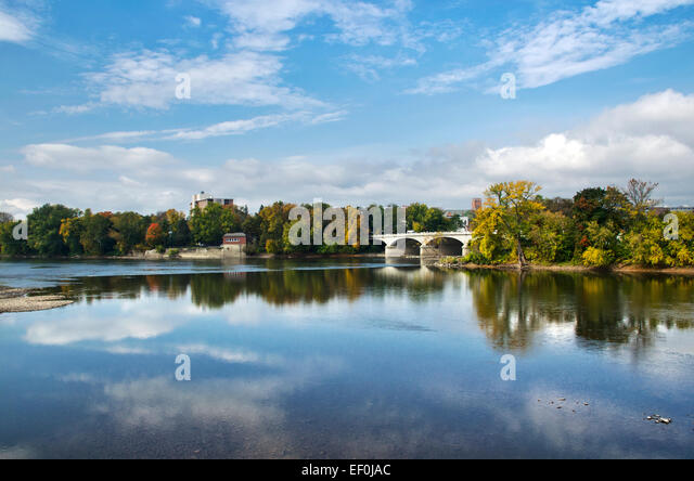 Binghamton, NY Memorial St. Bridge scenic fall landscape of the Chenango and Susquehanna rivers Broome County Southern - Stock Image
