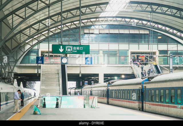 Wuhan Train station, a modern train station in China. - Stock Image