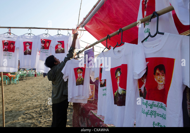 NLD stall with T shirts of The Lady and General Aung San, Mawdinsoun festival, far end of Irrawaddy Delta, Myanmar - Stock-Bilder