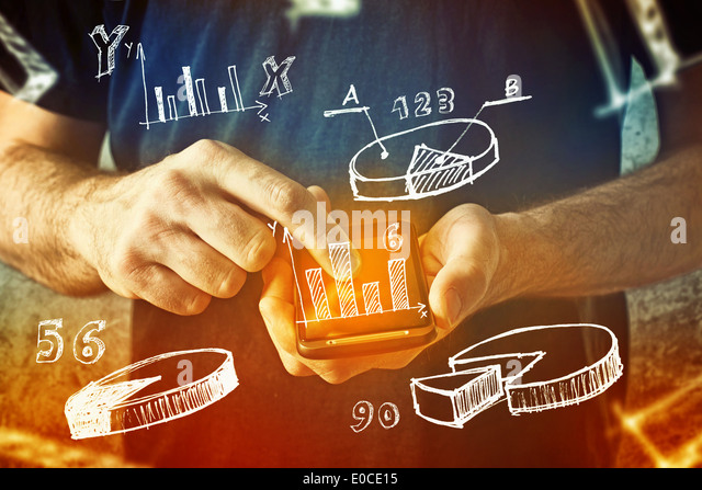 man using mobile phone with drawings of charts and other infographics in note pad - Stock-Bilder