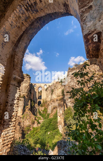 New Bridge and Parador Nacional from Tajo gorge, Ronda, Malaga Province, Andalusia, Spain - Stock Image