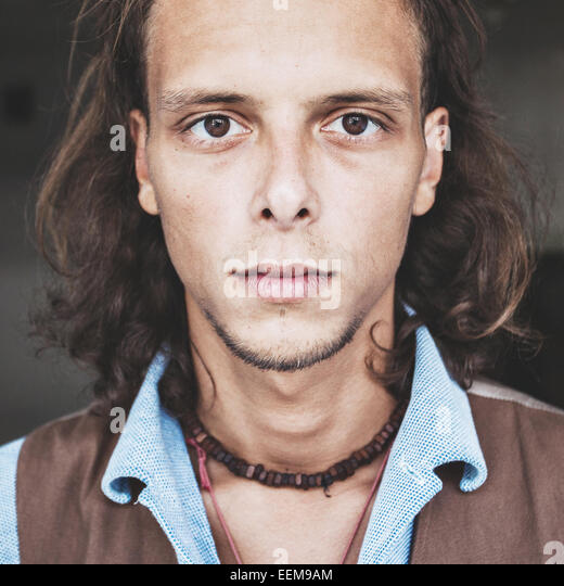 Portrait of young hipster man - Stock-Bilder