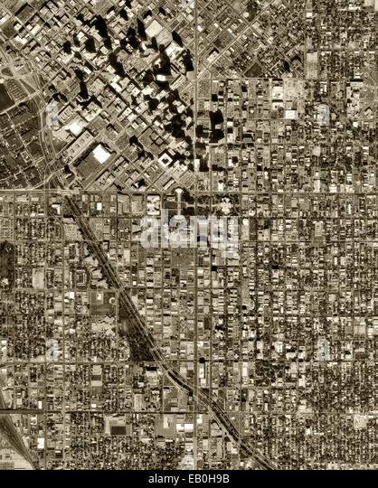 historical aerial photograph Denver, Colorado, 1999 - Stock Image