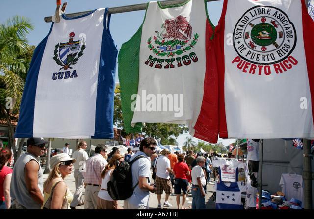 Miami Florida Little Havana Calle Ocho annual Hispanic festival shirts for sale Cuba Mexico Puerto Rico - Stock Image