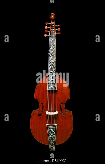 Seven-string bass viola da gamba with inlaid fingerboard and tailpiece - Stock Image