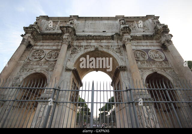 wide angle shot of The famous Arch of Costantin, Arco di Costantino Roma, Rome, Italy, travel, photoarkive - Stock Image