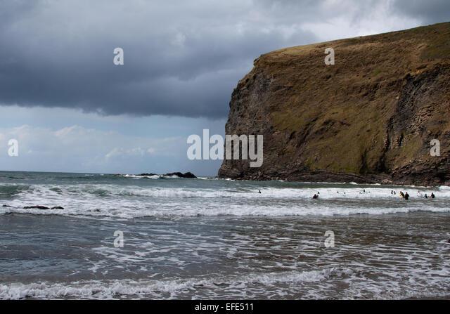 The sea at Crackington Haven, Cornwall - Stock Image