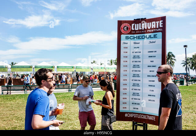 Florida Miami Bayfront Park Chipotle Cultivate Festival sign schedule events - Stock Image