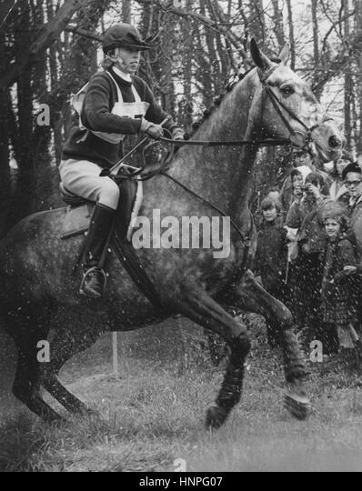 PRINCESS ANNE riding Columbus at the Windsor Horse Trials 20 April 1972 - Stock-Bilder