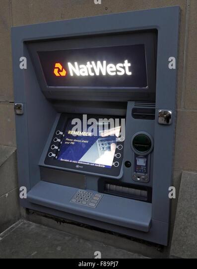 Natwest ATM hole in the wall machine, Warrington, Cheshire, England,UK - Stock Image