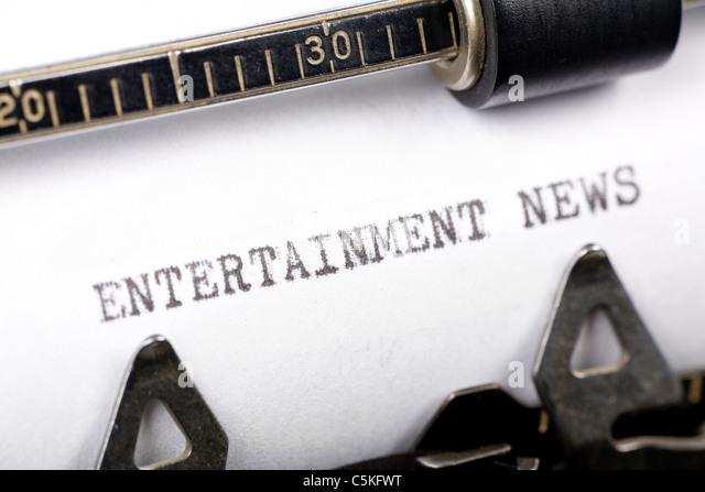 Typewriter close up shot, concept of Entertainment News - Stock-Bilder
