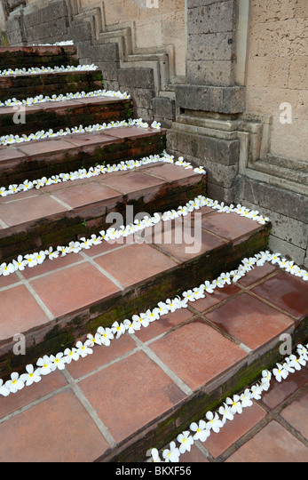 Stairs decorated with frangipani flowers in Ubud, Bali, Indonesia - Stock Image