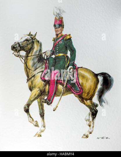 Belgian officer on horseback in uniform of the 1848-1850 General Staff - Stock-Bilder