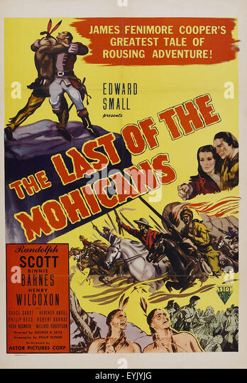 last mohicans 1936 movie poster stock photos amp last