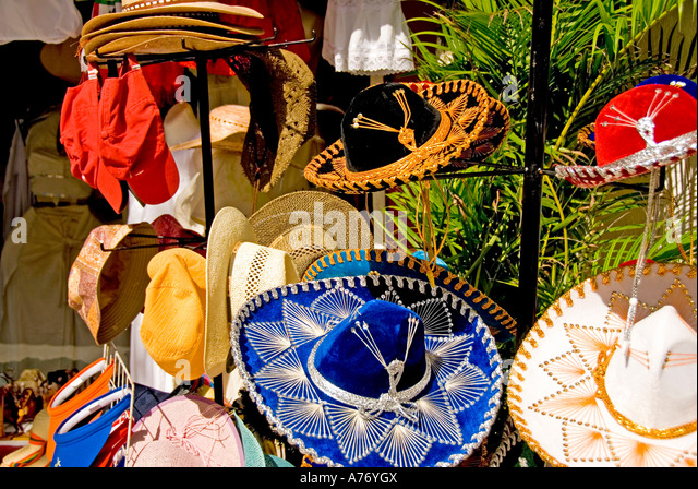 Cozumel Mexico San Miguel town, red and blue sombrero floppy hats - Stock Image