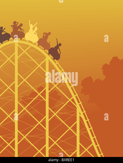 Colorful illustrated silhouette of a steep rollercoaster ride - Stock Image
