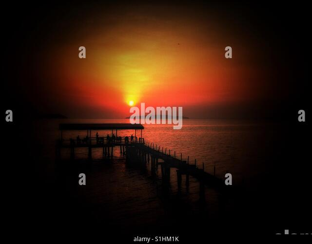 Sunset in Ream Beach, Cambodia - Stock Image