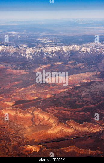 Aerial view of mountains and desert, approaching Las Vegas - Stock Image