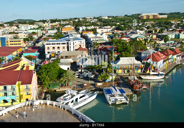 Antigua cruise ship bow above and looking down St Johns and shops at Redcliffe Quay - Stock Image