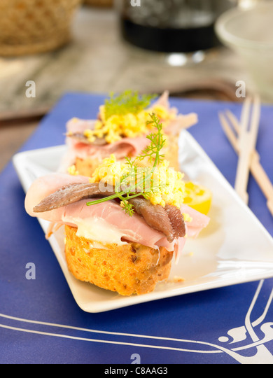 York ham,egg and anchovy open sandwich - Stock Image