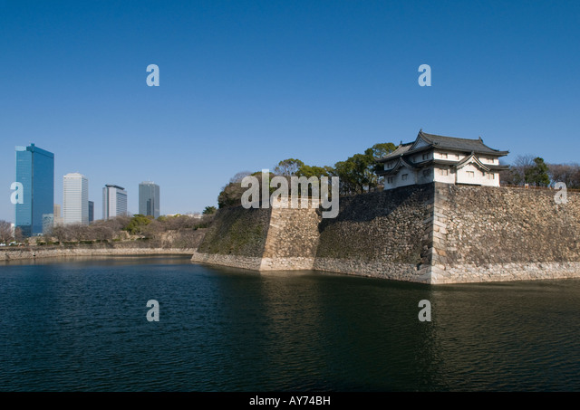 Osaka Castle and city skyline Japan - Stock Image