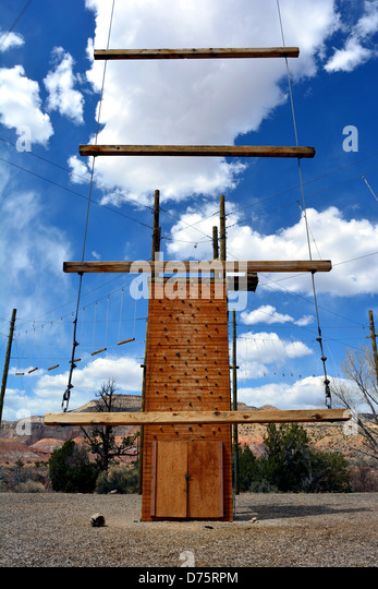 Ropes Course used to help build teamwork skills. Often used in workshops for adults and children. - Stock Image