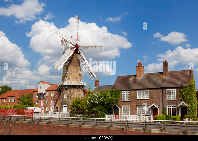 The Maud Foster Windmill, Skirbeck, Boston, Lincolnshire, England, UK - Stock Image