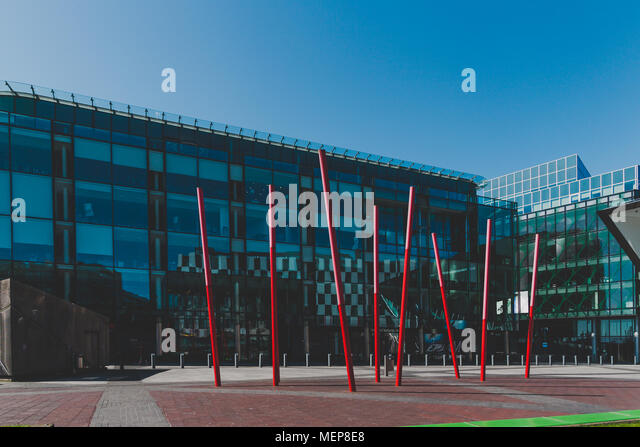 DUBLIN, IRELAND - April 21st, 2018: view of the Grand Canal Square in the renovated Dublin Docklands area - Stock Image