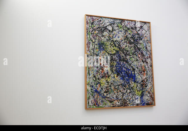 abstract art painting hanging wall - Stock Image