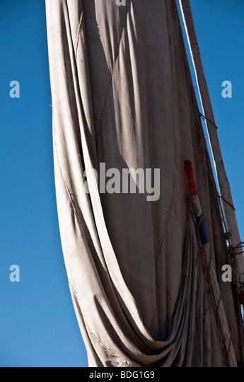Egypt felucca sailboat folded lateen sail - Stock Image