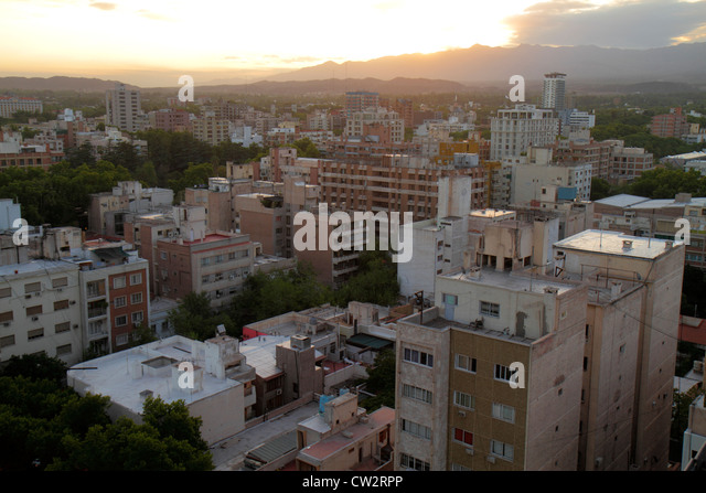 Mendoza Argentina aerial view from Edificio Gomez skyline buildings high rise apartments housing high-density urban - Stock Image