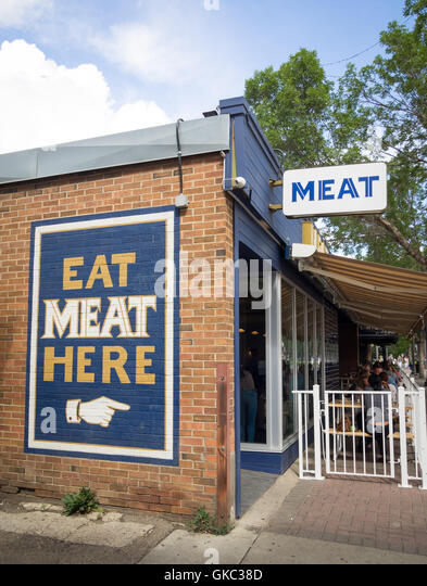 The exterior of MEAT Restaurant, a smokehouse located in the Old Strathcona district in Edmonton, Alberta, Canada. - Stock Image