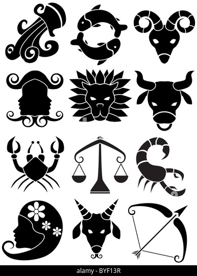 An image of the 12 zodiac symbols. - Stock Image