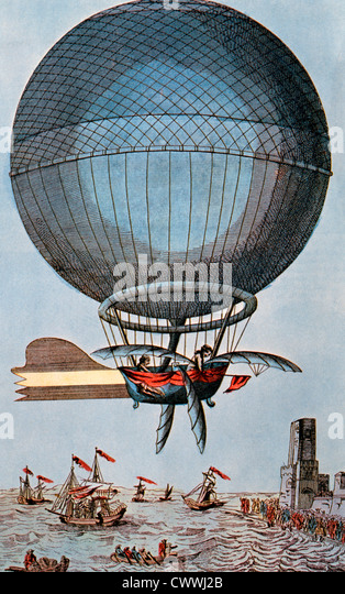 Blanchard and Jeffries Crossing the English Channel by Balloon, 1785, Illustration - Stock-Bilder