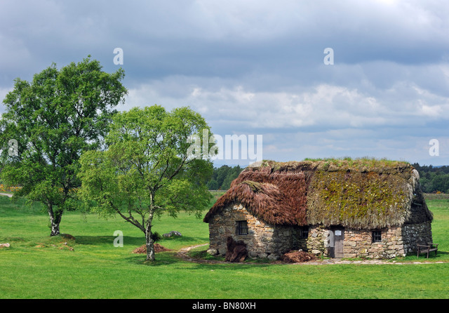 Old Leanach crofter cottage at the Culloden battlefield, Scotland, UK - Stock Image