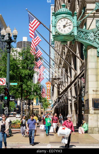 Chicago Illinois Loop Retail Historic District downtown North State Street Marshall Field and Company Building Macy's - Stock Image