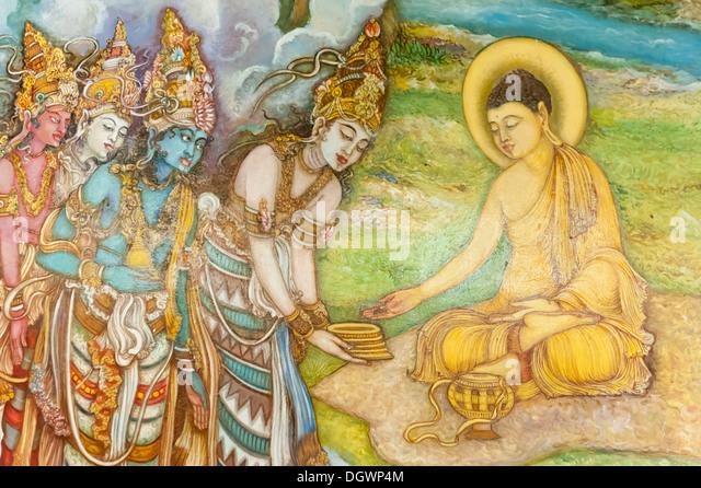 Mural painting, illustration of Buddha and worshippers, Buddhist Mahiyangana Temple, Mahiyangana, Sri Lanka - Stock Image