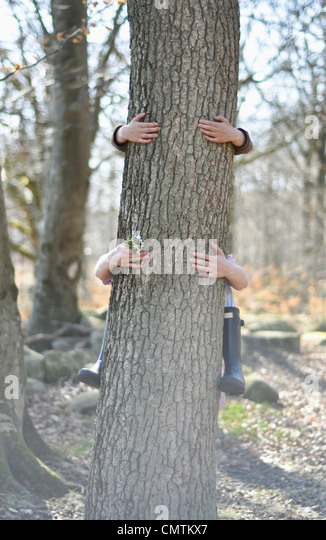 Human hand hugging tree trunk - Stock Image