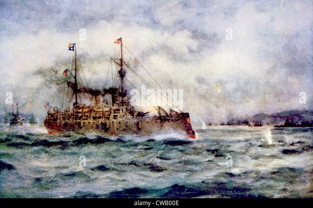 The Battle of Manila Bay, the American cruiser Olympia firing the first shot, May 1, 1898, painting by Robert Hopkin - Stock Image