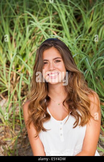 Teenage girl smiling - Stock Image