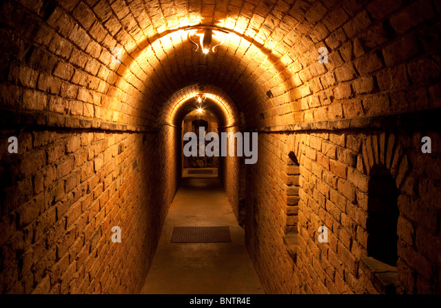 Dark hallway at Castello di Amorosa. Napa Valley, California. Property released - Stock Image