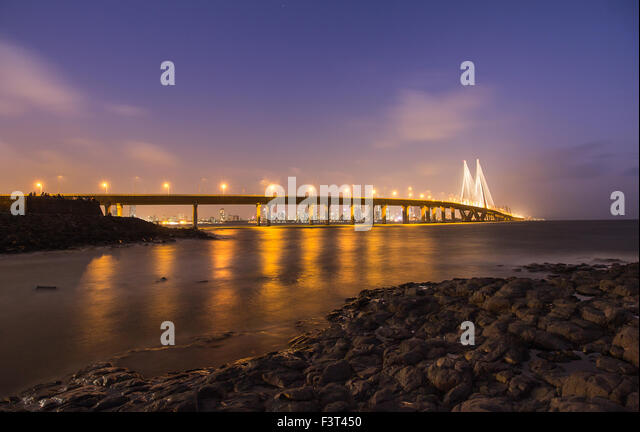 The Bandra–Worli Sea Link, sea bridge that connects Western Suburbs of Mumbai with Worli in South Mumbai. - Stock Image