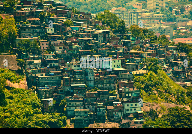 Favela or slum seen from Corcovado - Stock Image